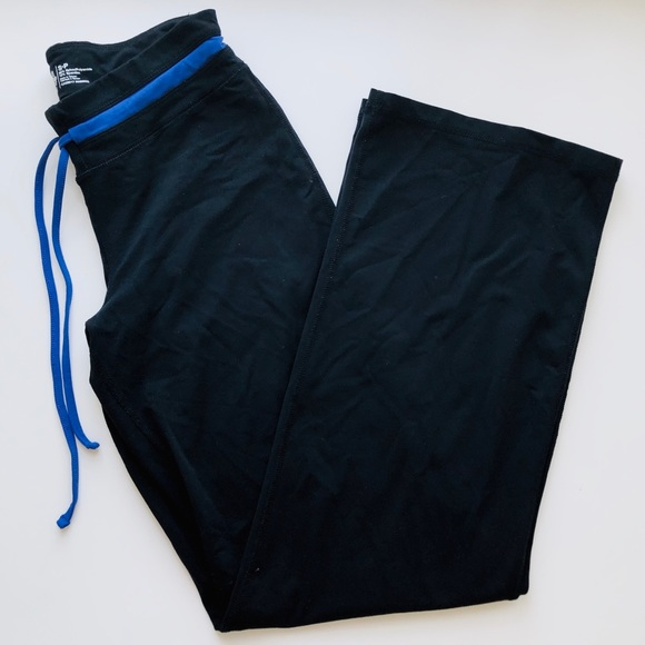 Roots Black Yoga Pants with Blue Drawstring Waist
